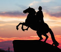 Monument of peter great silhouette against the sunset st petersburg russia Royalty Free Stock Images