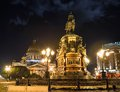 Monument of piter first medniy horseman in saint petersburg n illuminated night dark time Royalty Free Stock Photo