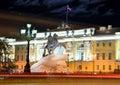 Monument of piter first medniy horseman in saint petersburg n illuminated night dark time Royalty Free Stock Photography