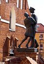 Monument of soldier with girl at grudziadz spichrze the a polish a Stock Photos