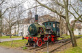 Monument of steam locomotive in karlsruhe institute technology germany Royalty Free Stock Photo