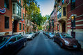 Monument Street, in Bunker Hill, Charlestown, Boston, Massachuse Royalty Free Stock Photo