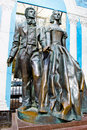 Monument to alexander pushkin and natalia goncharova on arbat street in moscow Royalty Free Stock Images