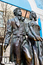 Monument to alexander pushkin and natalia goncharova on arbat street in moscow Royalty Free Stock Image