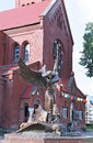 Monument to the archangel michael shatterspear snake near church of st simeon and st helena in minsk Stock Photography
