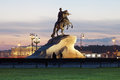 Monument to the Bronze Horseman in the evening, St. Petersburg Royalty Free Stock Photography