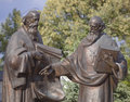 Monument to cyril and methodius creators of the slavic alphabet at caves monastery in kiev Royalty Free Stock Images