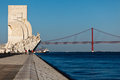 The Monument to Discoveries guards Lisbon harbor Royalty Free Stock Photo