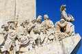 Monument to the discoveries lisbon portugal statues on portuguese padrão dos descobrimentos at belem district Stock Photography