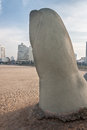 Monument to the drowned punta del este in uruguay Royalty Free Stock Photos