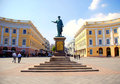 Monument to Duke de Richelieu in Odessa, Ukraine. Royalty Free Stock Photo