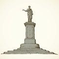 Monument to Duke de Richelieu. Odessa, Ukraine. Vector sketch Royalty Free Stock Photo