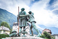 Monument to the first and second climbers on mont blanc in chamonix Stock Photography