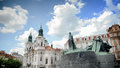 Monument to Jan Hus (John Huss)Old Town Square (Staromestske namesti),Prague,work of Ladislav Saloun, Czech. Royalty Free Stock Photo