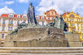 Monument to Jan Hus in the Old Town Square in Prague, Czech Repu Royalty Free Stock Photo
