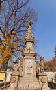 Monument to john of nepomuk near sedlec ossuary the cemetery church all saints in unesco site is famous saint and Stock Image