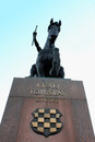 Monument to king tomislav in zagreb horse head silhouette Royalty Free Stock Photography