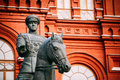 Monument to marshal georgy zhukov on red square in close up of moscow russia Royalty Free Stock Image