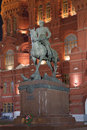 The monument to marshal zhukov near historical museum at night moscow Stock Image