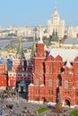 Monument to marshal zhukov proezd voskresenskiye gates historical museum gum and kotelnicheskaya embankment building in moscow Stock Photo