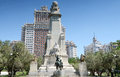 Monument to miguel de cervantes saavedra on plaza de espana spain square madrid spain tthe popular tourist destination at the Royalty Free Stock Photography