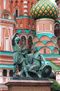 Monument to minin and pozharsky in front of st basil cathedral in moscow russia Stock Image