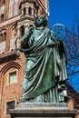Monument to nicolaus copernicus – in torun poland was a great mathematician and astronomer creator of a heliocentric Royalty Free Stock Images