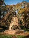 Monument to the Nikolay Przhevalsky 1839-1888 explorer of Central and East Asia. Russian traveler and naturalist. Royalty Free Stock Photo