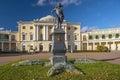 Monument to Paul I and Pavlovsk Palace, Pavlovsk, Saint Petersburg, Russia Royalty Free Stock Photo