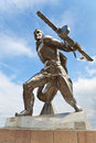 Monument to soviet soldier in new odessa ukraine making from stainless steel Royalty Free Stock Image