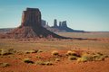 Monument valley butte and grass at arizona usa Stock Photo