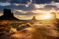 Monument valley sunset at the sisters in usa Royalty Free Stock Images