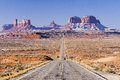 Monument Valley Two Lane Highway Royalty Free Stock Photo