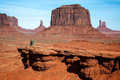 Monument valley utah usa november two men chatting in th the desert on unidentified people Stock Photography