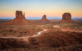 Monument Valley view at Sunset, showing the Mittens , Utah, USA Royalty Free Stock Photo