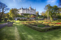 Dunrobin Castle, Scotland. Spring sunny day in the park Royalty Free Stock Photo