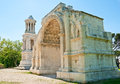 Monuments of glanum well preserved examples roman architecture mausoleum julii and triumphal arch are located in the ancient town Stock Photography