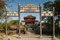 Monuments of hue vietnam gateway and pavilion in the protected by unesco old imperial city Royalty Free Stock Photo