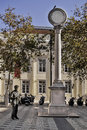 Monuments in lisbon largo trindade coelho square at the bairro alto district wherw a bronze statue of a lottery seller man stays Royalty Free Stock Photography