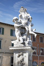 Monuments of pisa tuscany italy marble statue against a blue sky with white clouds Stock Photo