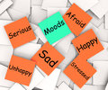Moods post it note means emotions and feelings meaning Stock Photos