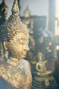 Moody ambience buddha statue close up statues in doi suthep temple complex Royalty Free Stock Photos