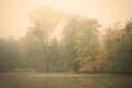 Moody autumn morning in a forest park with calm pond water Stock Image