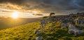 Moody stormy sunrise light on the Yorkshire Moors Royalty Free Stock Photo