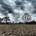 Moody winter skies, Felixstowe Royalty Free Stock Photo