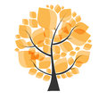 Mooi autumn tree op een witte vector als achtergrond Stock Foto