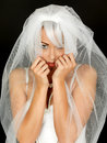 Mooi coy shy young bride portrait Royalty-vrije Stock Foto's