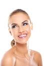 Mooi het glimlachen gezicht van naakte vrouw Stock Foto's