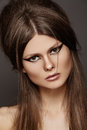 image photo : Beautiful hairstyle on chic model, fashion make-up
