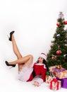Mooie die santa girl op wit wordt geïsoleerd Royalty-vrije Stock Afbeeldingen